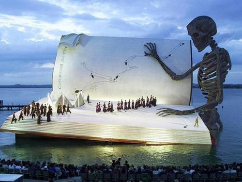 Book-shaped opera stage in Bregenz, Austria