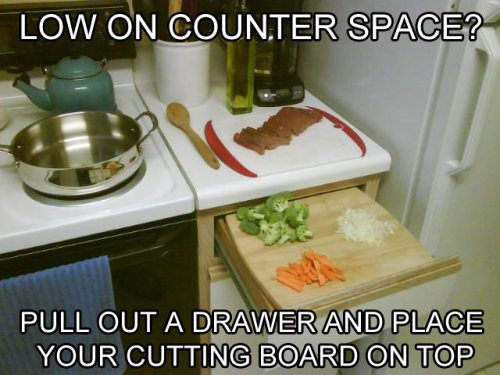 Extend your counter with a cutting board