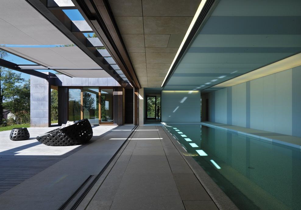 Long semi indoor pool