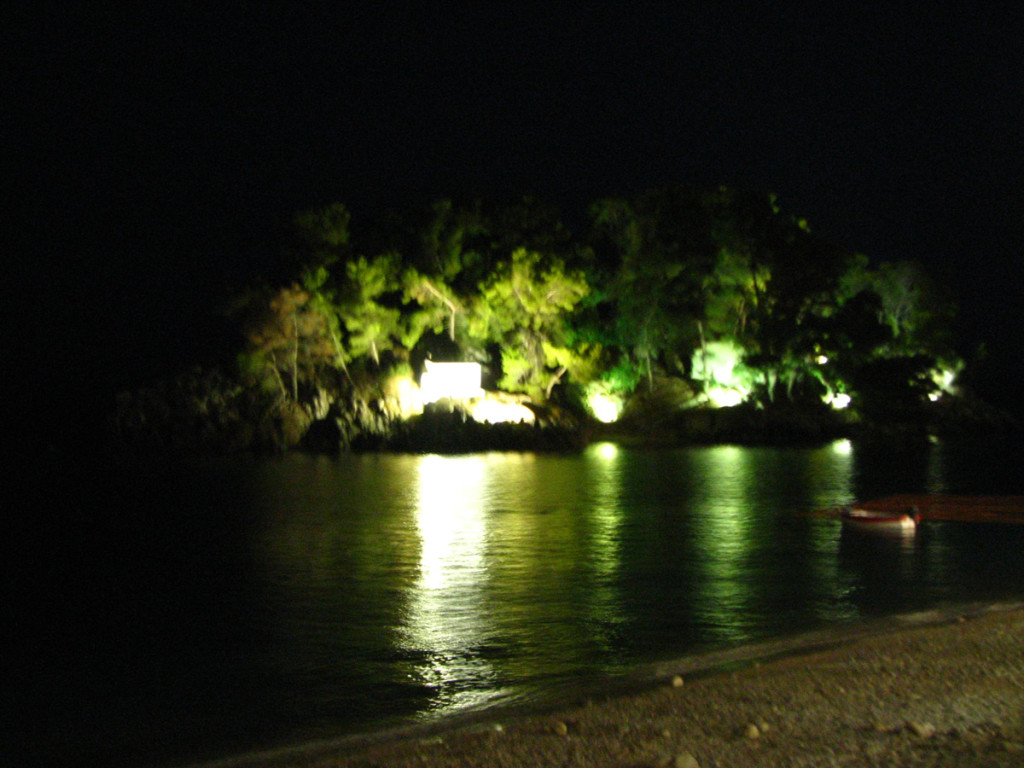 Panagia island at night