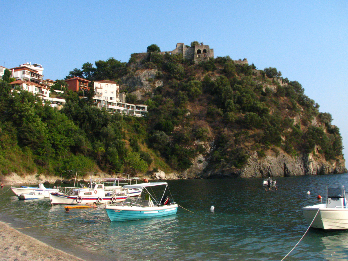 Valtos beach and the Venetian fortress