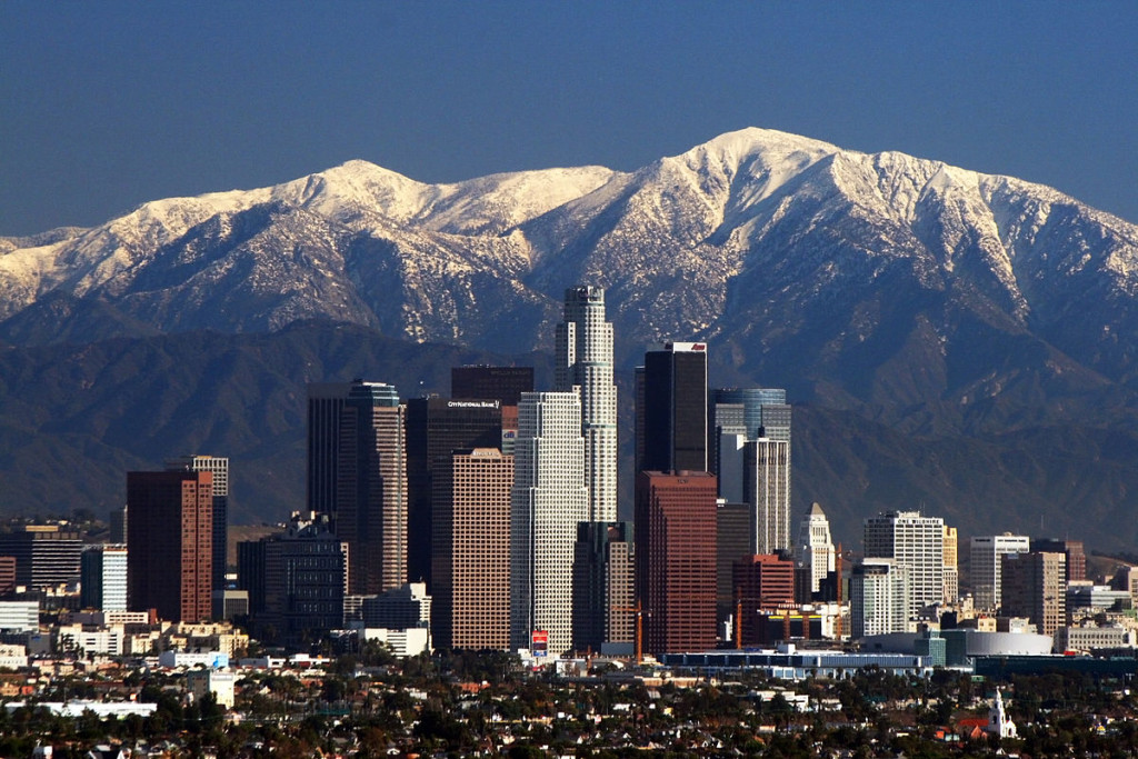 Los Angeles skyline and mountains