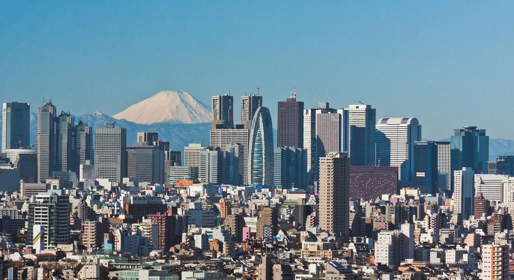 Skyscrapers of Shinjuku Tokyo and mount Fuji