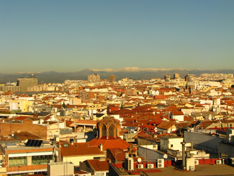 Madrid panorama with the snow-covered Sierra