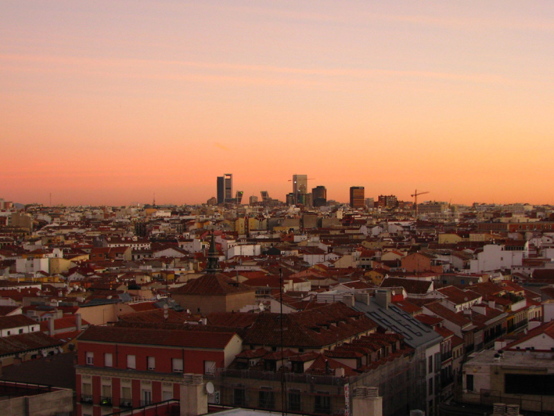 Madrid panorama with skyscrapers at dawn