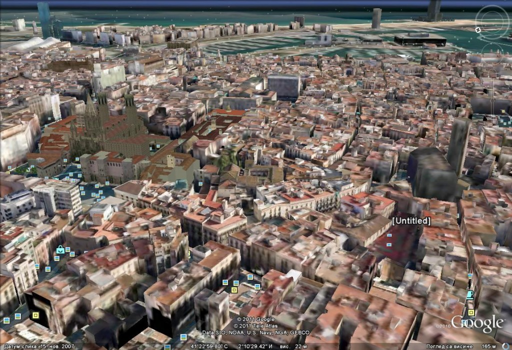 Medieval Barcelona through Google Earth