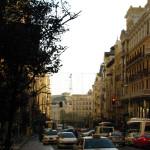 Downtown madrid traffic jam